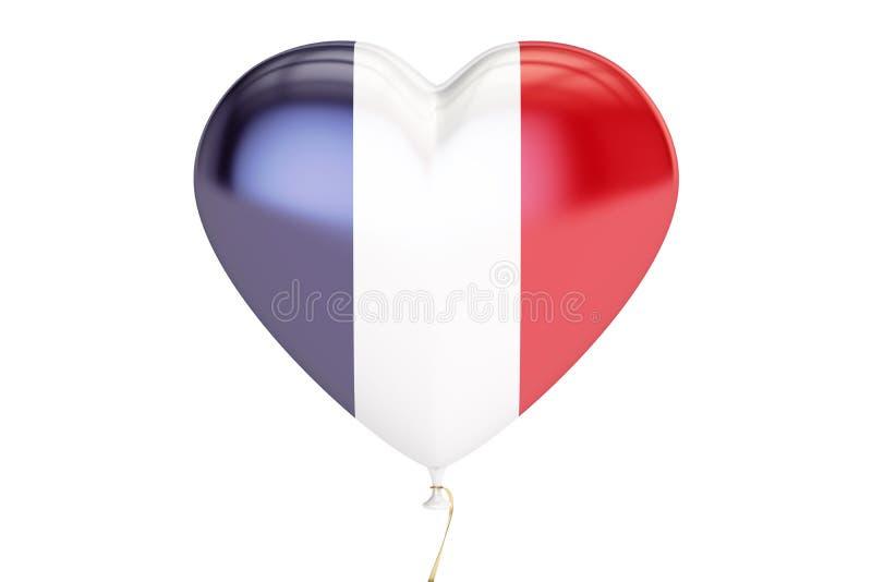 Balon z Francja flaga w formie serca, 3D rendering ilustracja wektor