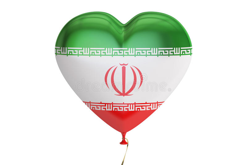 Balon z Iran flaga w formie serca, 3D rendering ilustracji