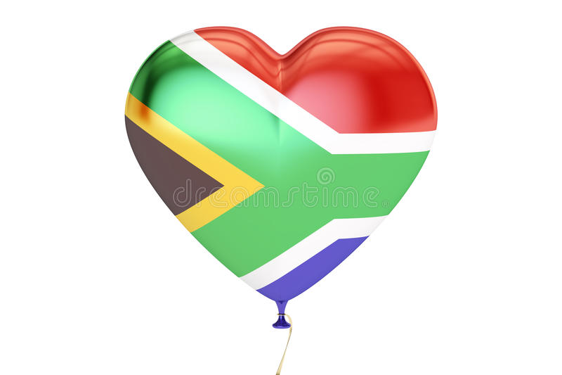 Balon z Południowa Afryka flaga w formie serca, 3D royalty ilustracja