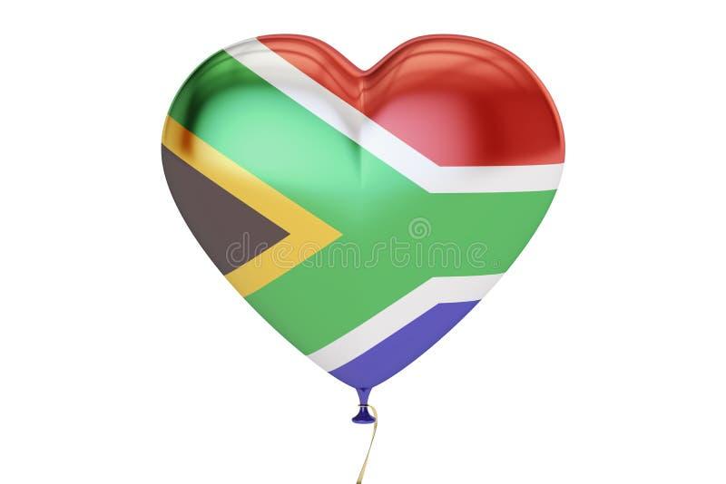 Balon z Południowa Afryka flaga w formie serca, 3D renderi ilustracji