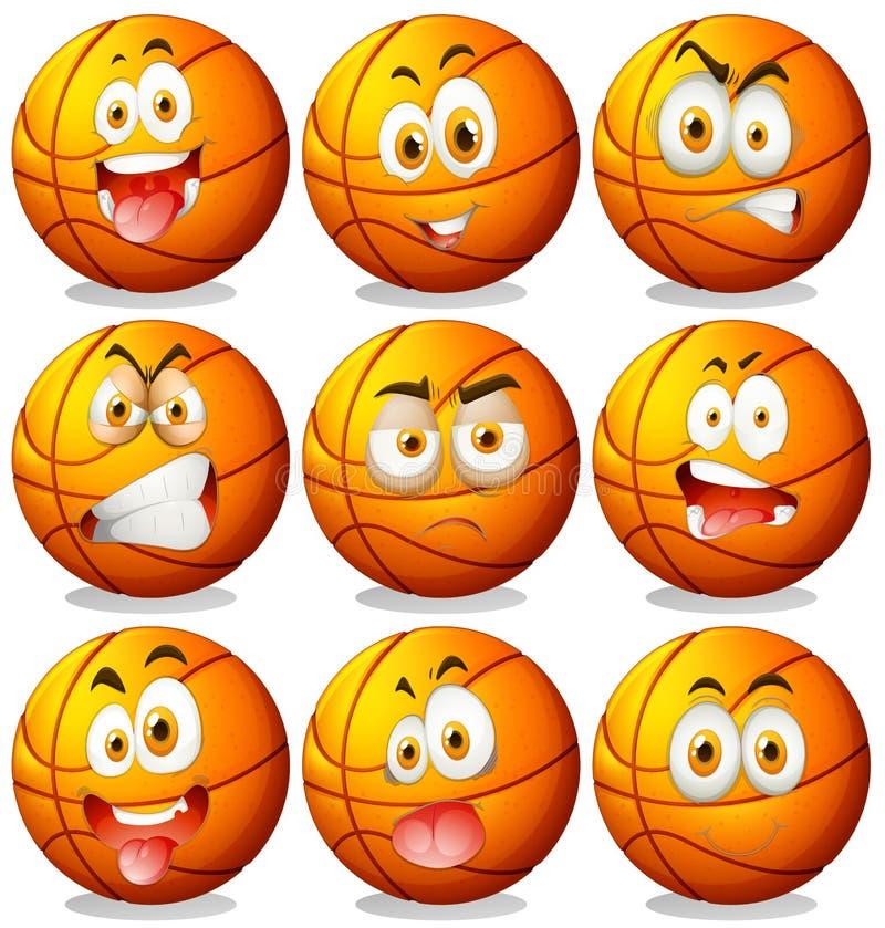 Baloncesto con expresiones faciales stock de ilustración