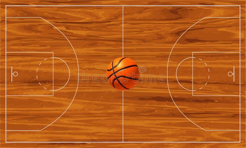 Baloncesto court ilustración del vector