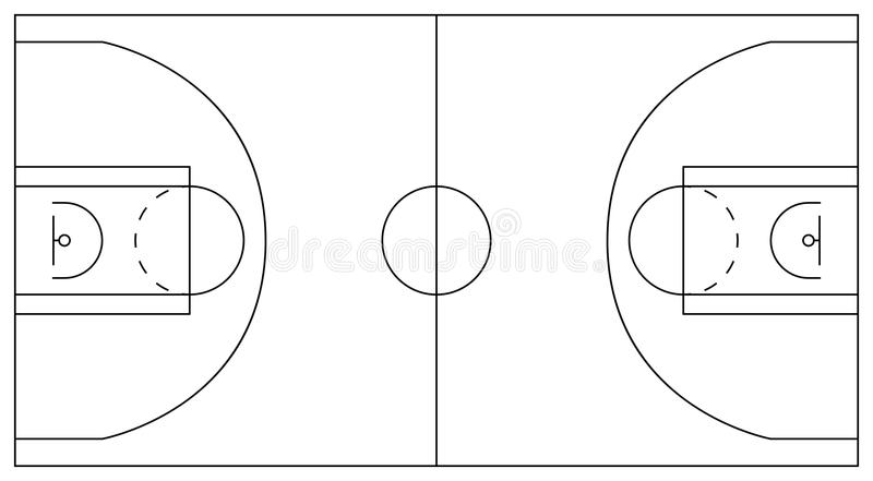 Baloncesto court Esquema de diagramas y de zonas: círculo central libre illustration