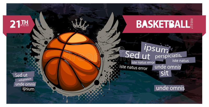 Baloncesto de Grunge stock de ilustración