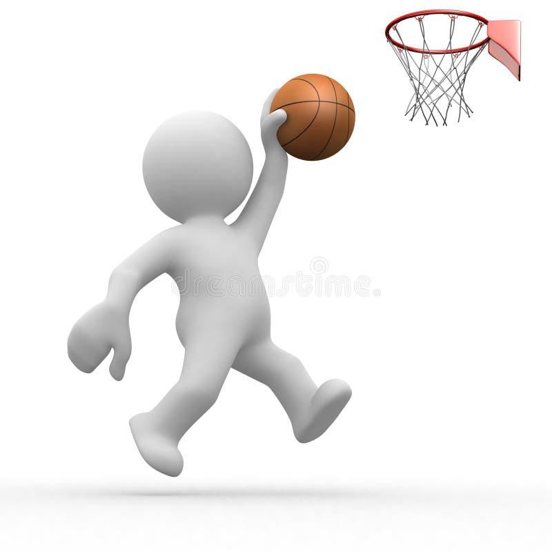 baloncesto del ser humano 3d stock de ilustración