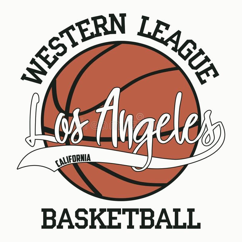 Baloncesto, Los Ángeles, California Tipografía del deporte ilustración del vector