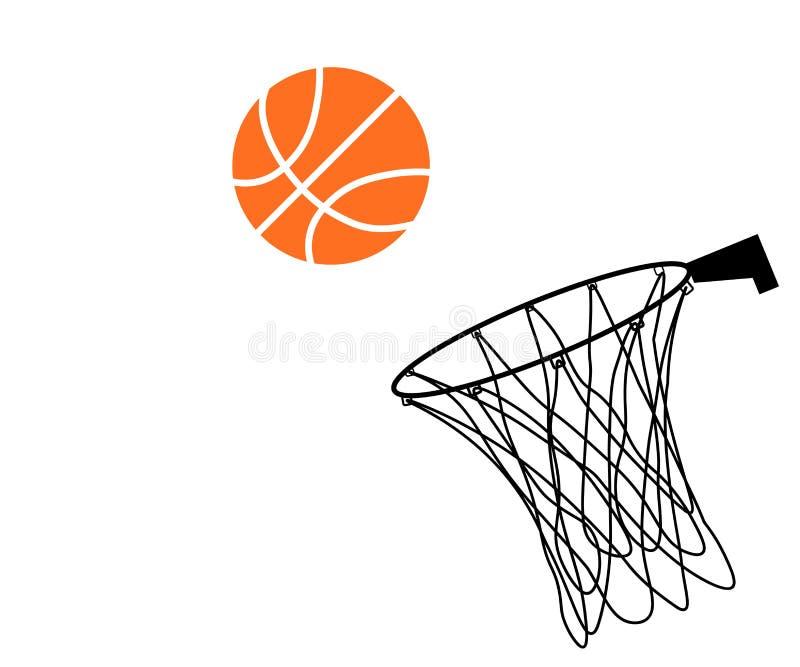Baloncesto y aro de la web ilustración del vector
