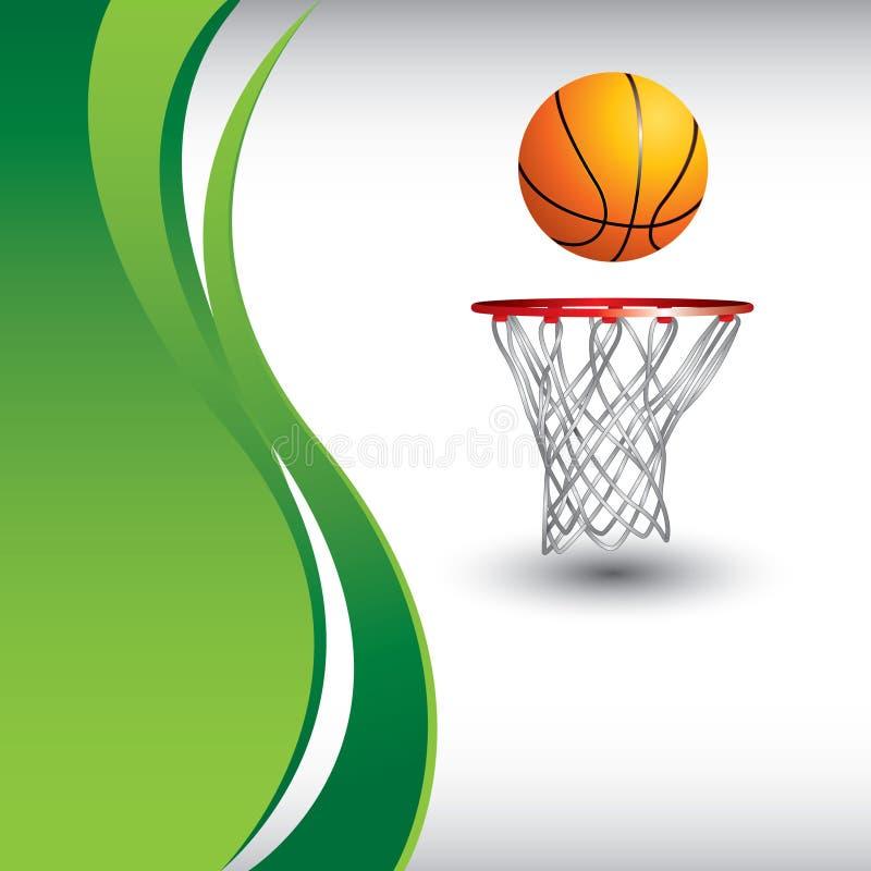 Baloncesto y aro en anuncio vertical de la onda verde stock de ilustración
