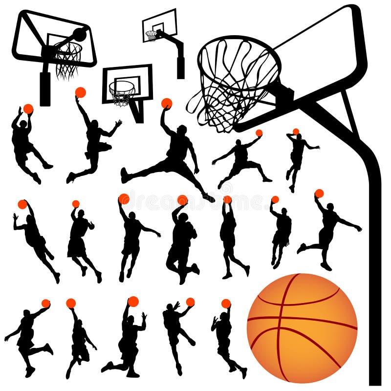 Baloncesto y vector 2 del tablero trasero stock de ilustración