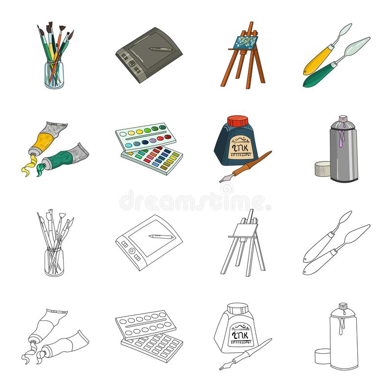 Balonchik paints, tubes with paint, watercolor in a box, ink in a bottle and a pen.Artist and drawing set collection. Icons in cartoon,outline style vector vector illustration