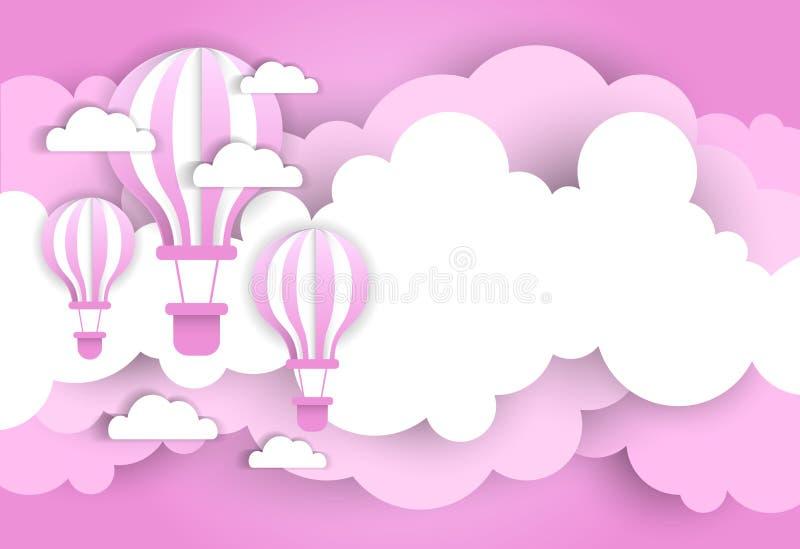 Balones de aire de Valentine Day Background With Pink del vintage sobre las nubes de la historieta stock de ilustración
