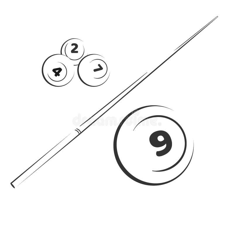 Balones de elementos de snooker Billiard con números y palos. Conjunto de ilustraciones vectoriales en blanco y negro stock de ilustración