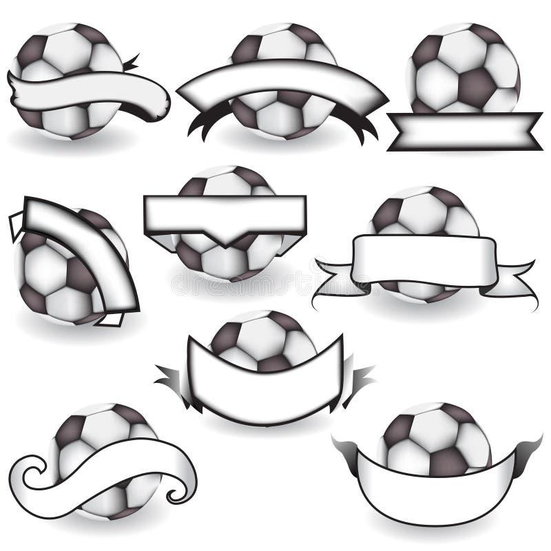 Balones de fútbol con las banderas stock de ilustración