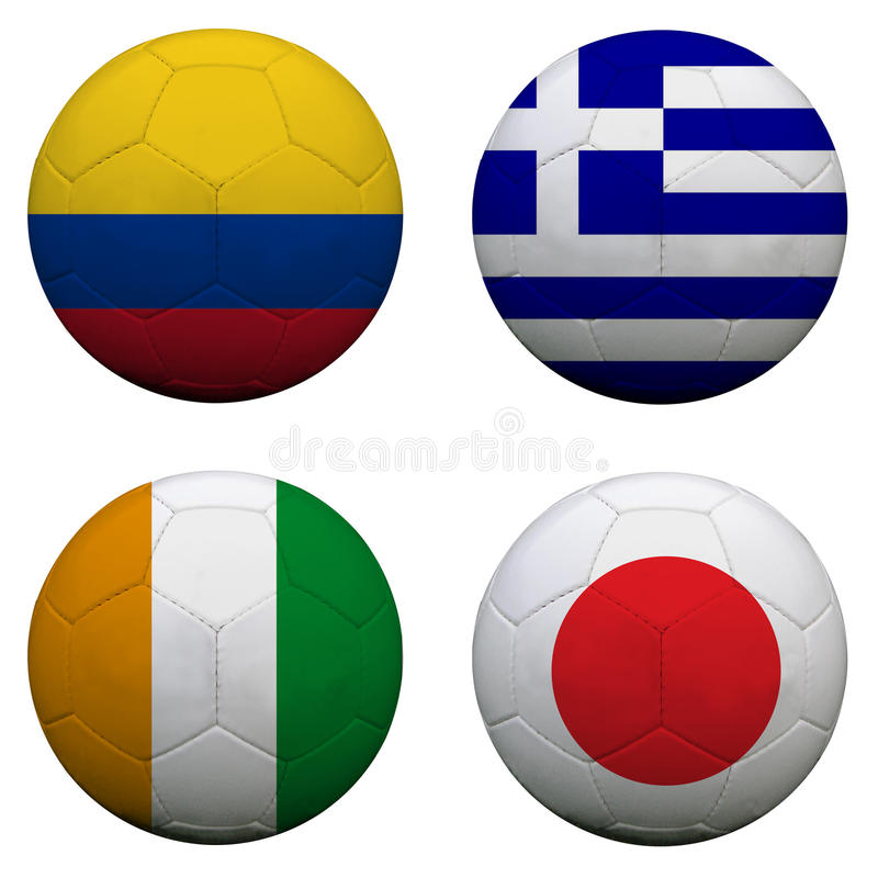 Balones de fútbol con los equipos del grupo C imágenes de archivo libres de regalías