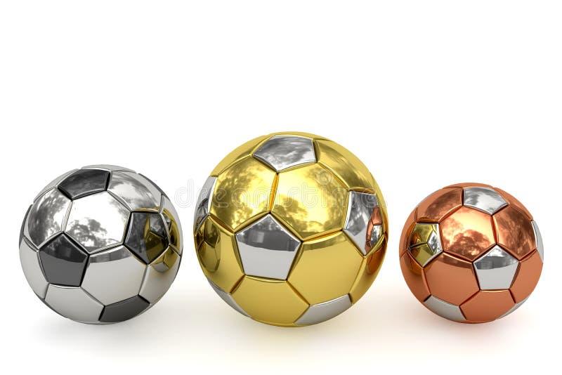 Balones de fútbol de oro, de plata y de bronce en blanco ilustración del vector