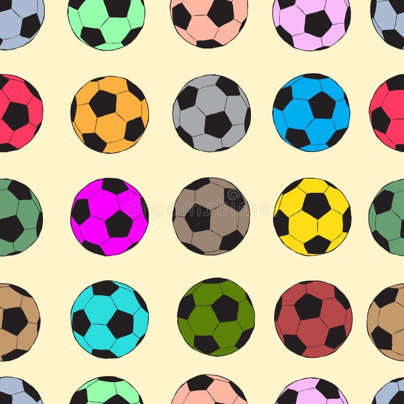 Balones De Fútbol Inconsútiles Del Color Ilustración del Vector ...