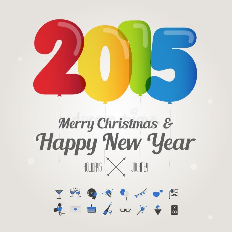 Balonowa liczba na wesoło bożych narodzeniach i szczęśliwym nowego roku 2015 concep ilustracja wektor