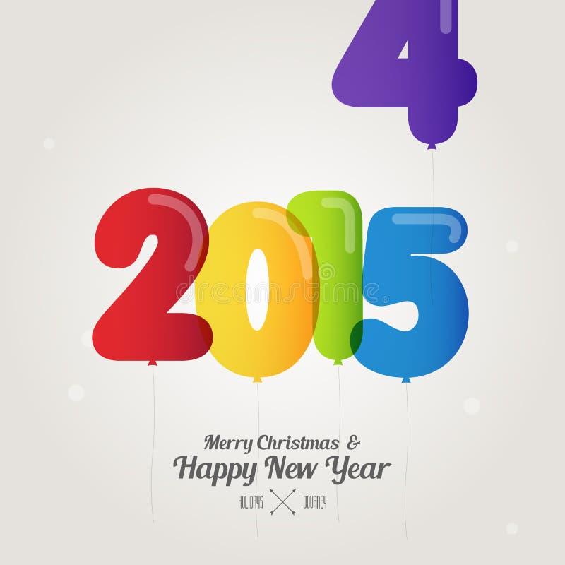 Balonowa liczba na wesoło bożych narodzeniach 2015 i szczęśliwym nowym roku jest com ilustracji