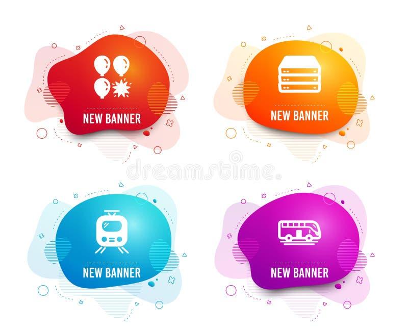 Balonowa strzałka, serwery i pociąg ikony, Autobusowy wycieczka turysyczna znak Przyciąganie park, Duży dane, tramwaj Transport w royalty ilustracja