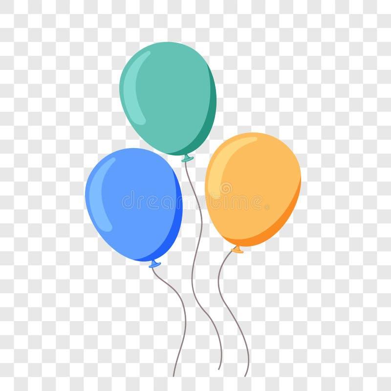 Balonowego ballon kreskówki wektorowy płaski przyjęcie urodzinowe ilustracja wektor