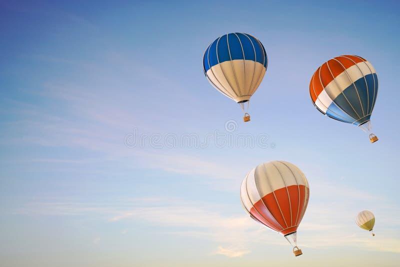 Balonowego gorącego powietrza kolorowy Wstępujący festiwal lata na Czystym niebie ilustracja wektor