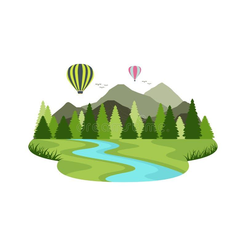 Balonowej transport powietrzny podróży Halna rzeka i jezioro krajobraz ilustracji