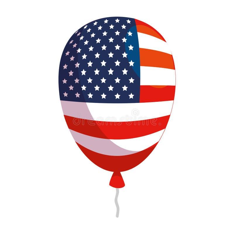 Balonowy hel z usa flagą ilustracji