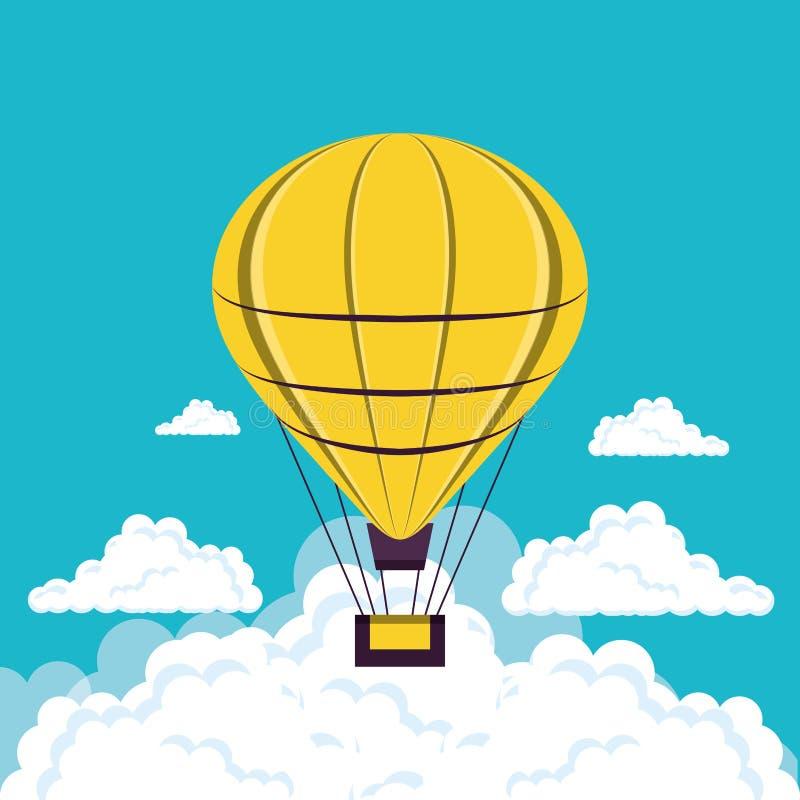 Balonowy lotniczy gorący latanie ilustracja wektor