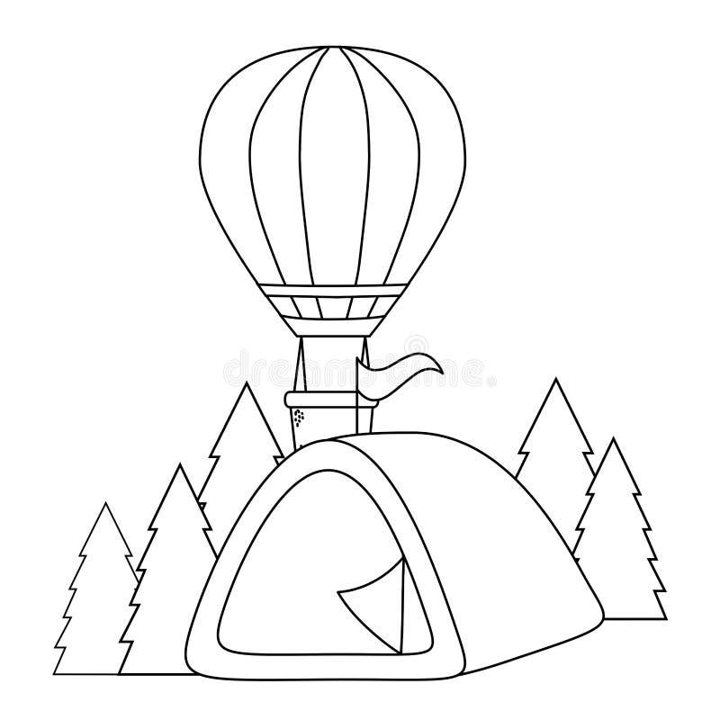 Balonowy lotniczy gorący latanie z campingowym namiotem royalty ilustracja