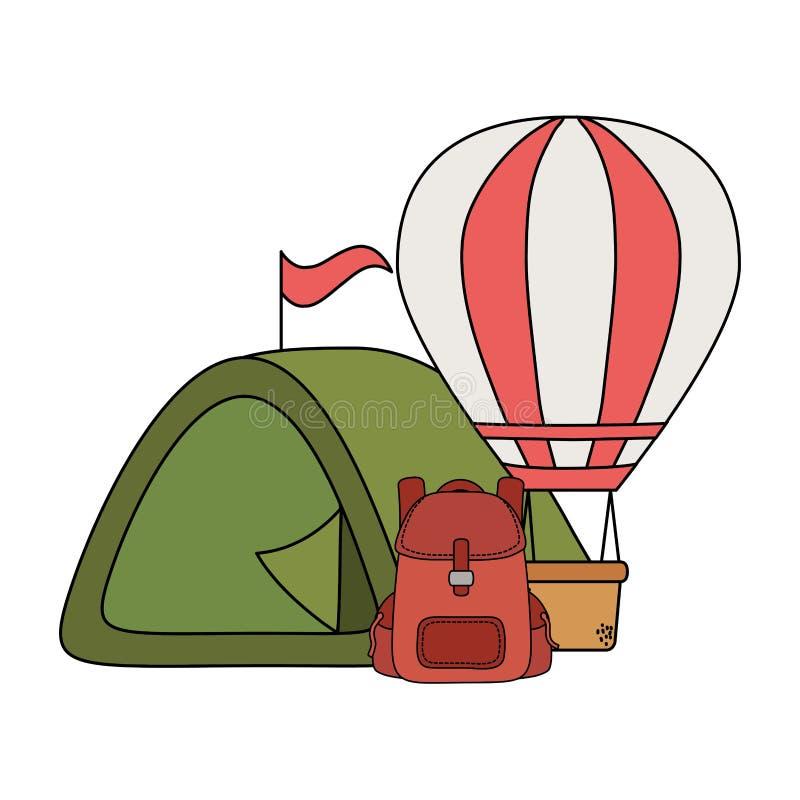 Balonowy lotniczy gorący latanie z campingowym namiotem ilustracji