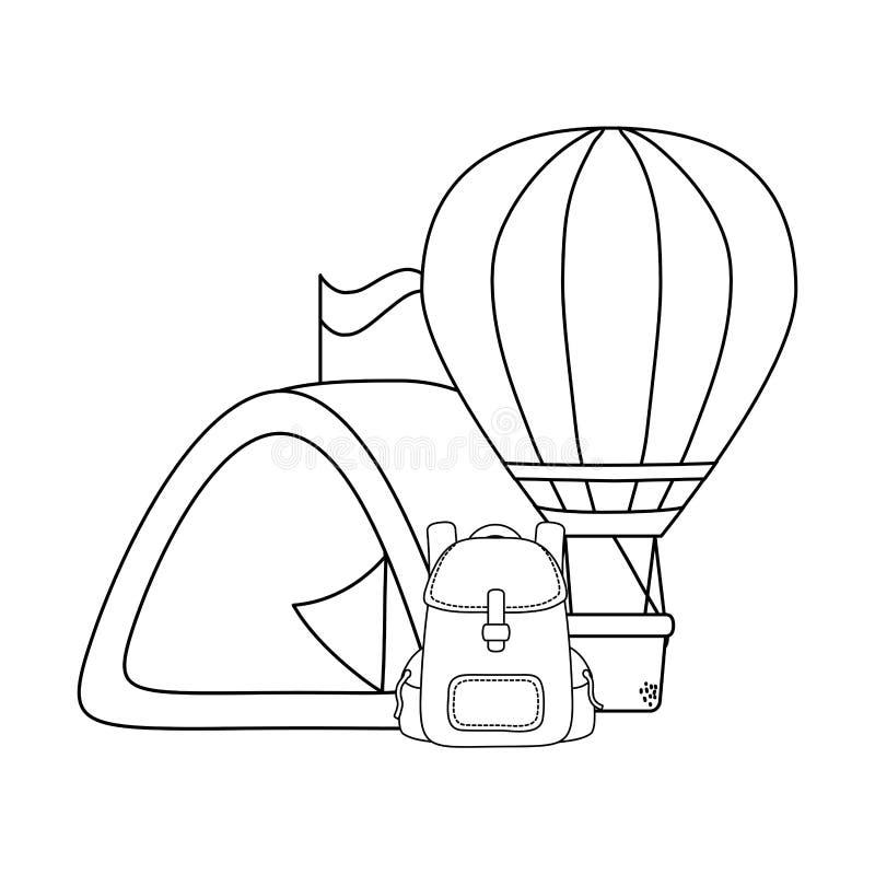 Balonowy lotniczy gorący latanie z campingowym namiotem ilustracja wektor
