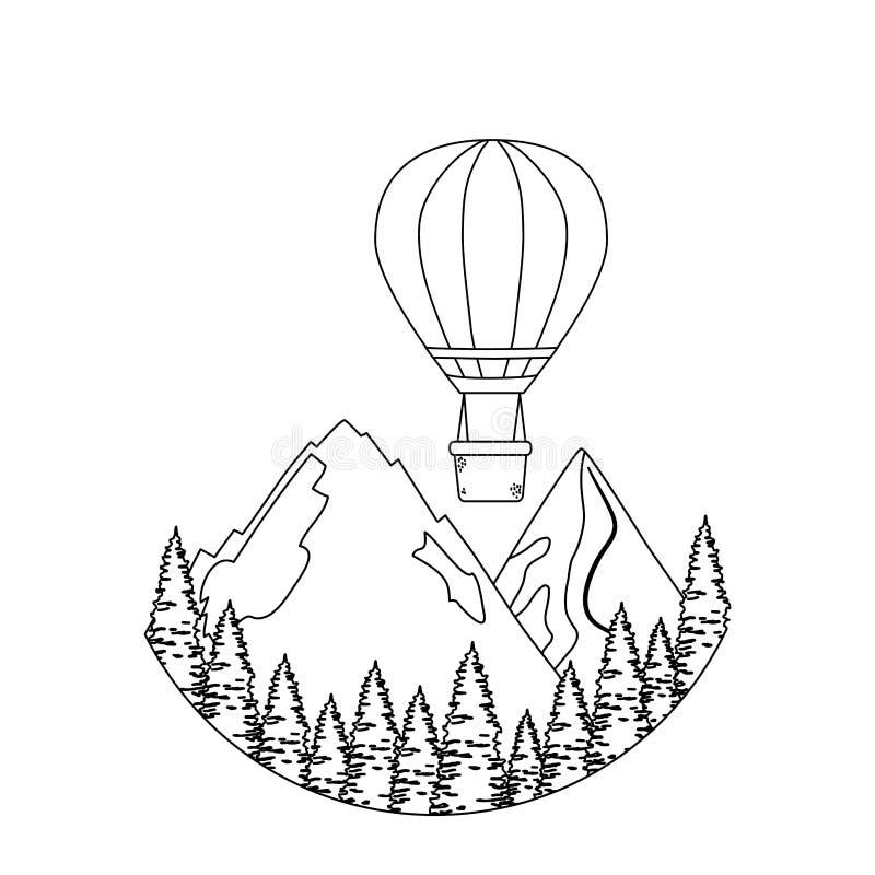 Balonowy lotniczy gorący latanie z sosnami i mountians sceną ilustracja wektor