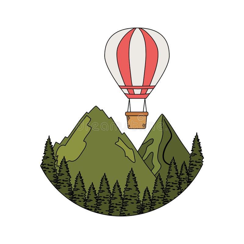 Balonowy lotniczy gorący latanie z sosnami i mountians sceną ilustracji