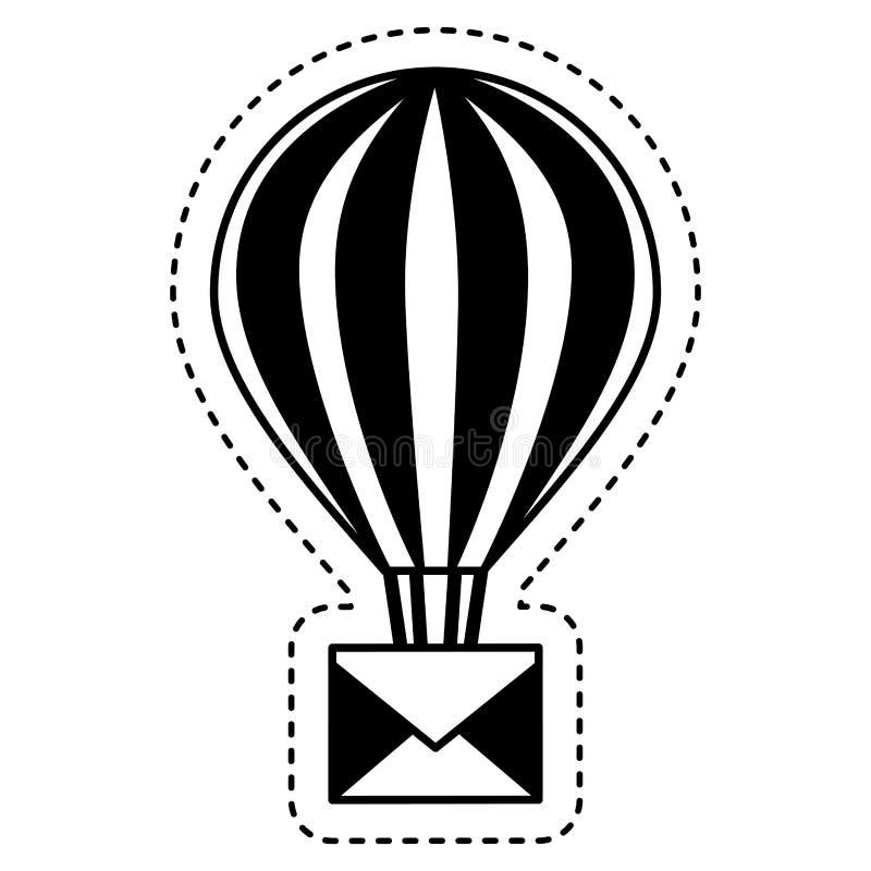 balonowy lotniczy gorący z kopertą royalty ilustracja