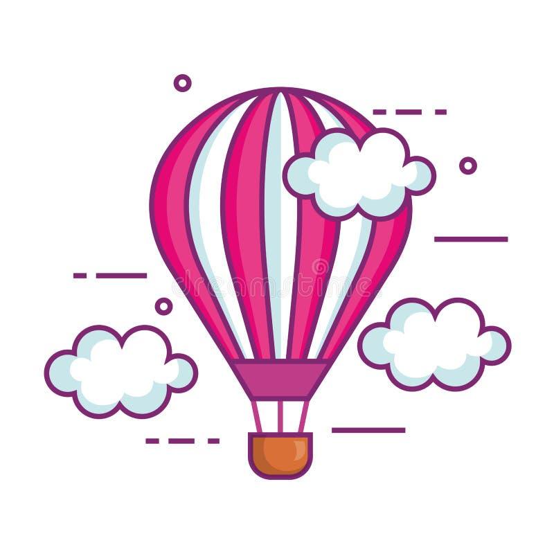 Balonowy lotniczy gor?cy latanie w niebie ilustracja wektor