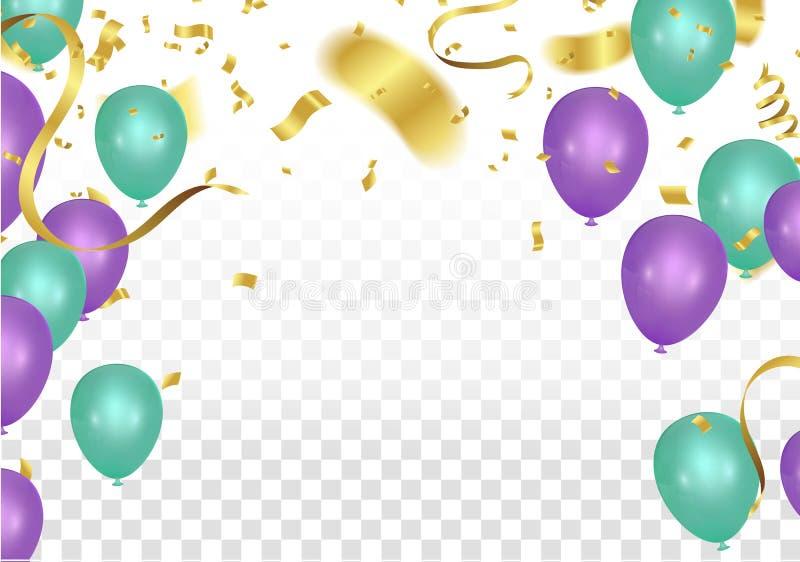 Balonowy partyjny tło z kolorowym lataniem szybko się zwiększać, confetti royalty ilustracja
