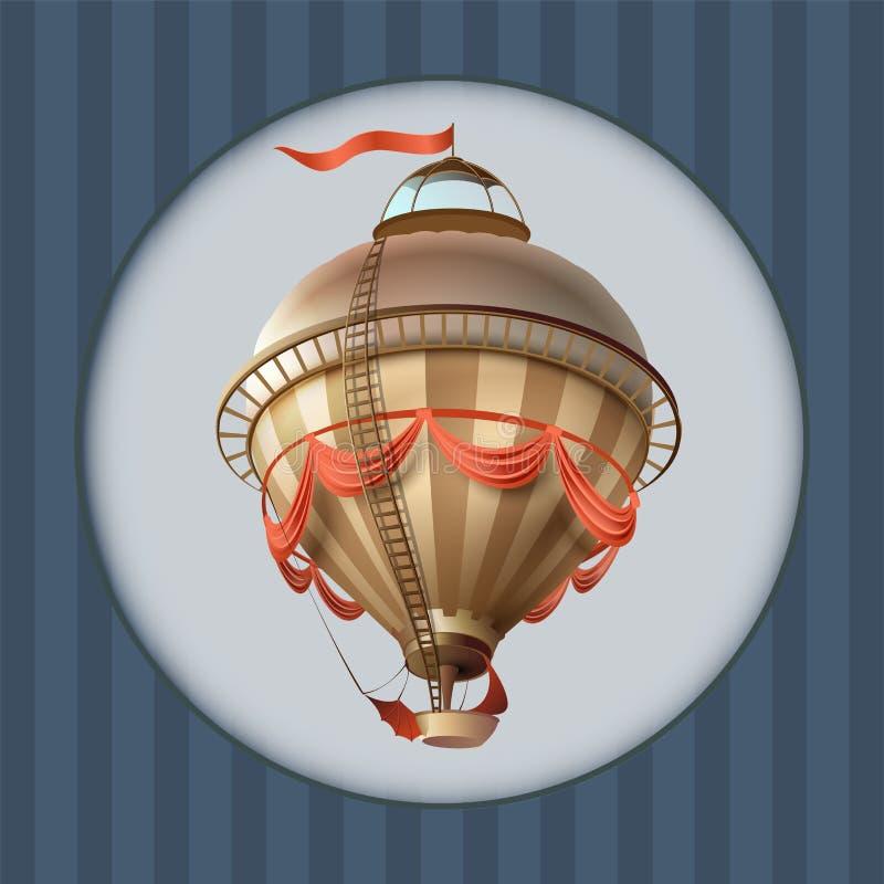 Balonowy retro hura-patriota statek z chorągwianą kartka z pozdrowieniami ramą ilustracji
