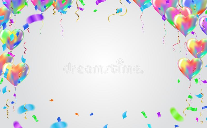 Balonowy sztandaru szablon, abstrakcjonistyczny kolorowy świętowania backgroun ilustracja wektor
