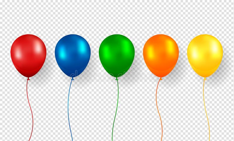 Balonowy wektor Realistyczny Latający Urodzinowy helu balon royalty ilustracja
