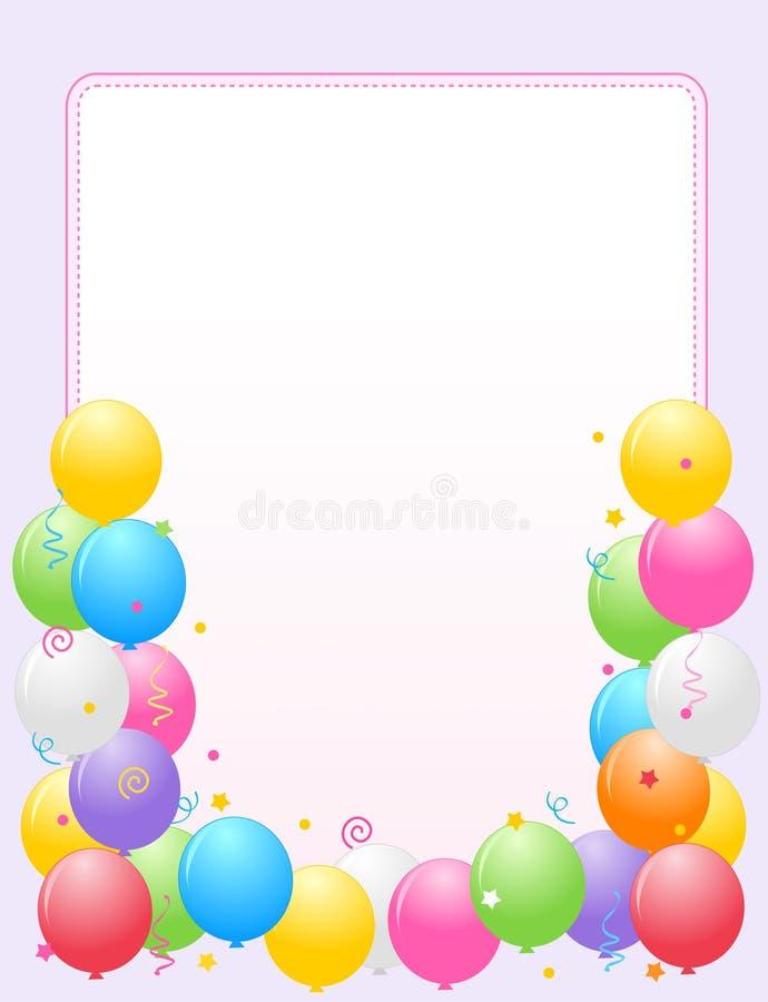 balony graniczą ramy kolorowego przyjęcia ilustracja wektor