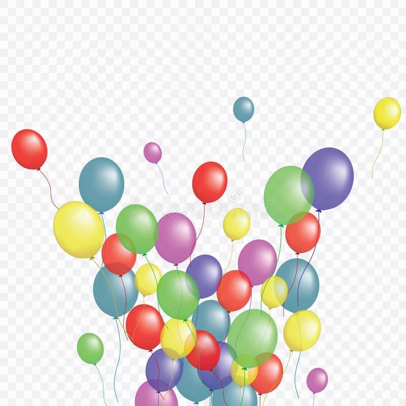 Balony grupują odosobnionego wektorowego graficznego projekt Kartka z pozdrowieniami tło Kolorowi helowi latanie balony odizolowy ilustracja wektor