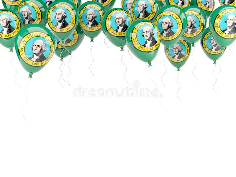 Balony obramiają z flaga Washington Zlana stanu miejscowego flaga ilustracja wektor