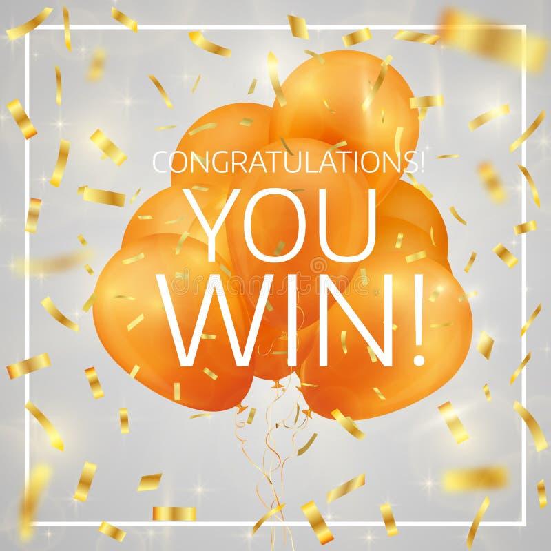 Balony z confetti i teksta gratulacjami ty wygrywasz ilustracja wektor