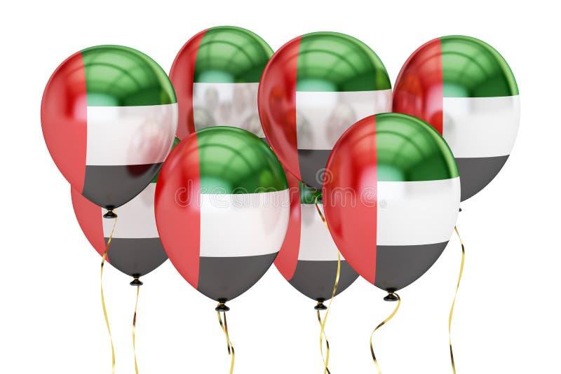 Balony z flaga UAE, holyday pojęcie świadczenia 3 d royalty ilustracja