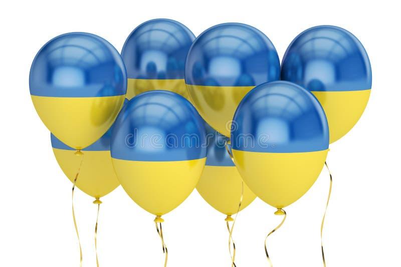 Balony z flaga Ukraina, holyday pojęcie świadczenia 3 d ilustracji