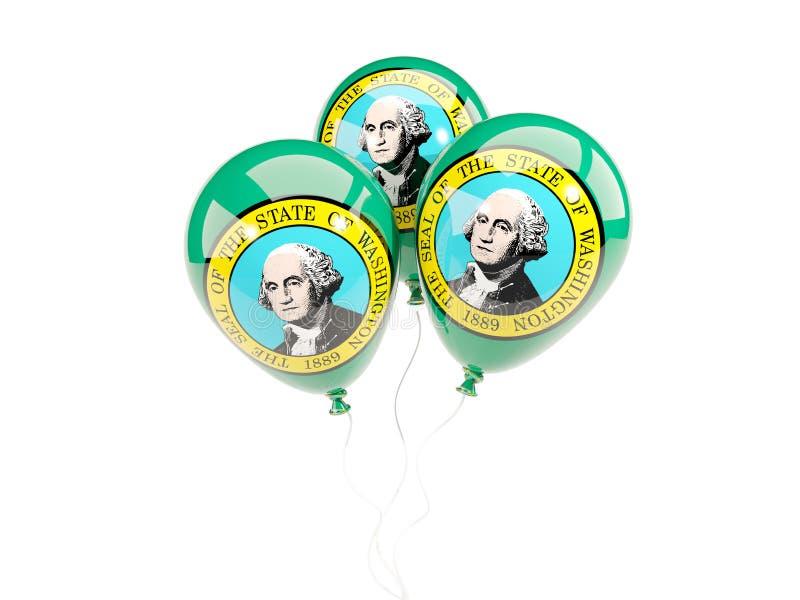 Balony z flaga Washington Zlane stanu miejscowego flaga ilustracji
