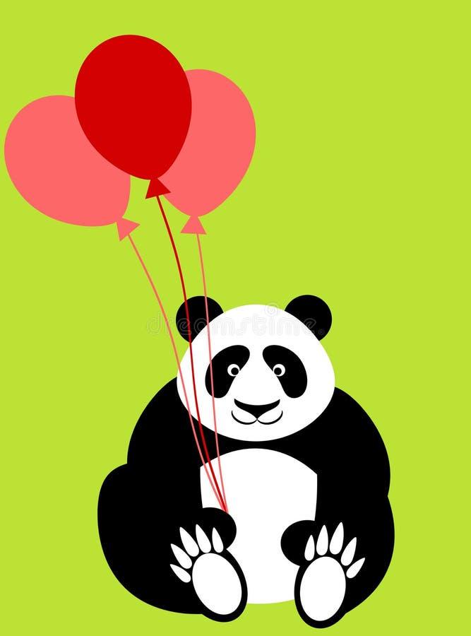 balony znoszą dzień szczęśliwych mienia pandy valentines ilustracji