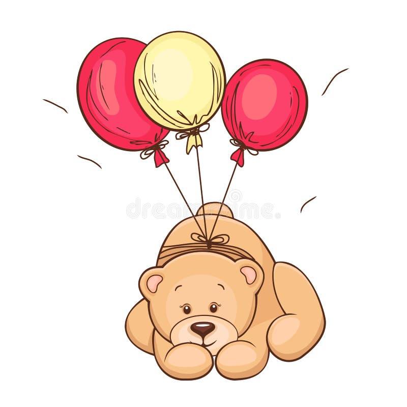 balony znoszą miś pluszowy ilustracji