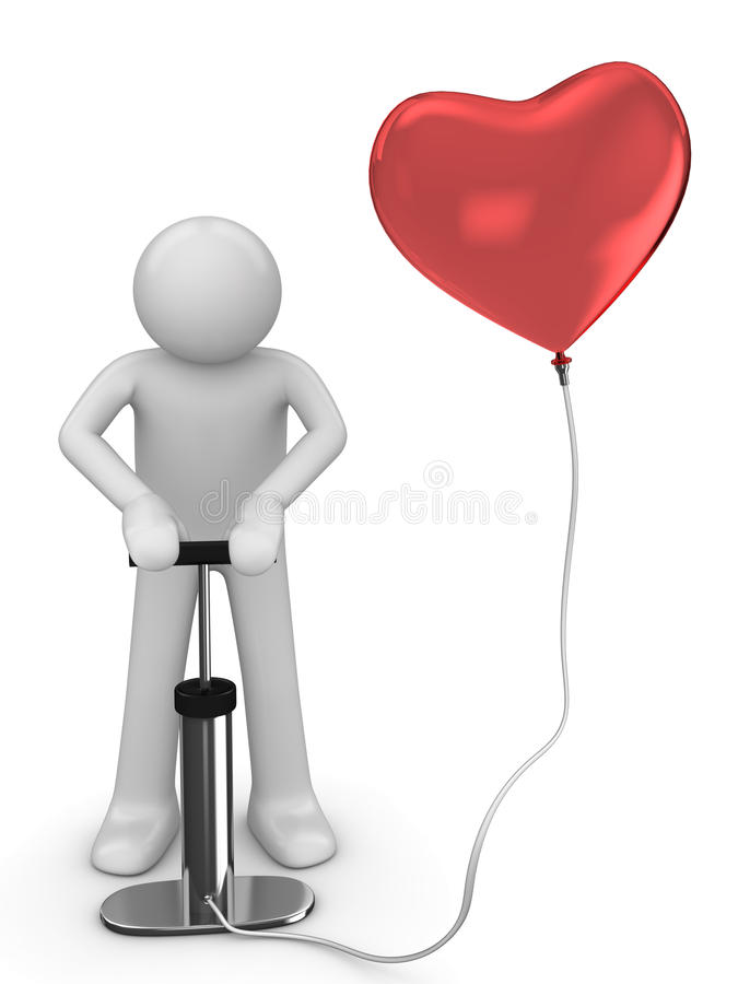Baloon de pompage d'amour images stock