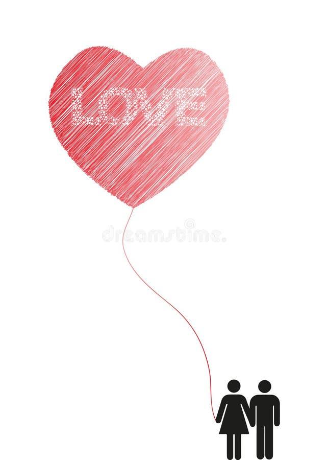 Baloon del amor del corazón imagenes de archivo